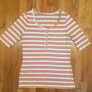 Ribbed Striped Henley Top